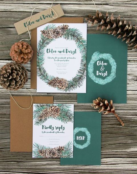 evergreens and pinecones are symbolic for winter, incorporate them into your wedding