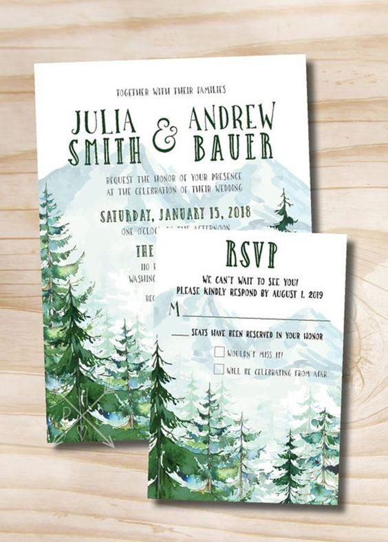 everygreen winter wedding invitations will remind all your guests that Christmas is coming