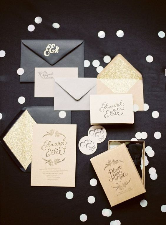 black, blush and gold flitter wedding invites with calligraphy for a New Year's Eve wedding