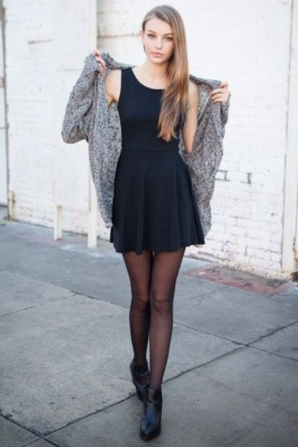 a little black dress with a cozy grey cardigan and black leather booties