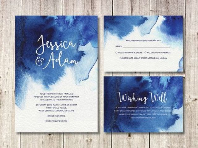 navy blue watercolor wedding invites for a seaside wedding