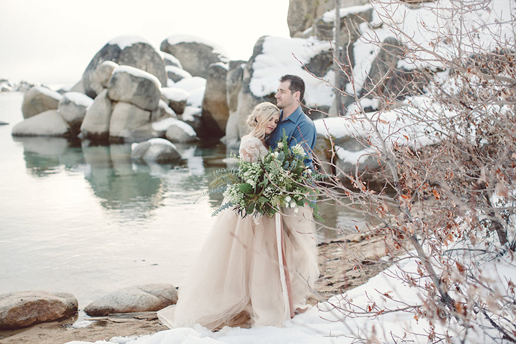 wedding portraits - photo by Lilly Red Creative http://ruffledblog.com/lake-tahoe-beach-wedding-inspiration