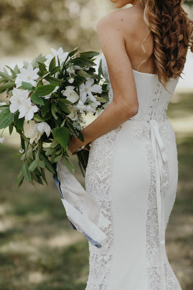 Laced bodice wedding dress