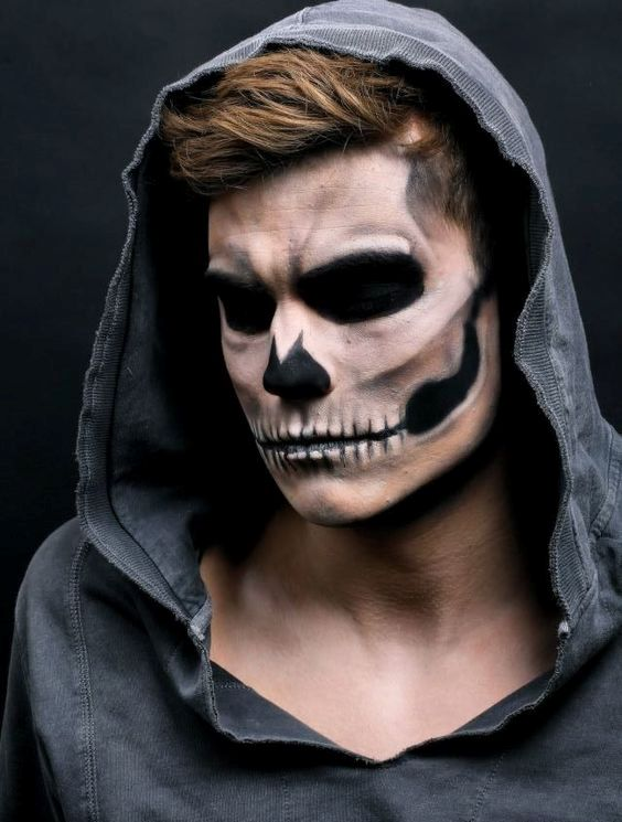 rather natural skull makeup for men looks really scary and harsh