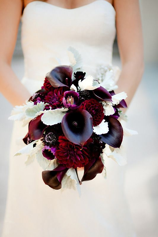 deep red dahlias, dark burgundy callas, pale greenery for a moody look