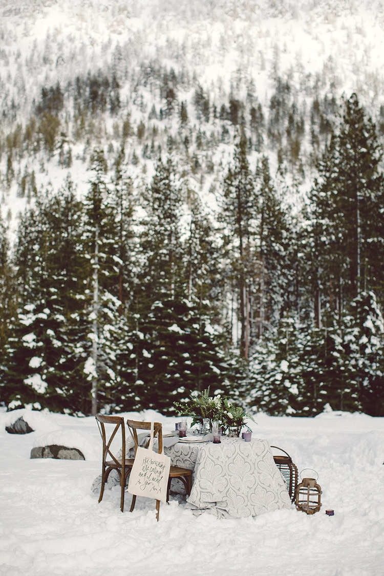 outdoor winter weddings - photo by Lilly Red Creative http://ruffledblog.com/lake-tahoe-beach-wedding-inspiration