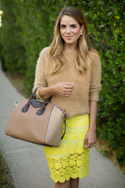 an amber sweater, a lemon yellow lace skirt and a brown bag for a transitional look