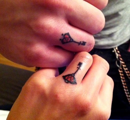 Matching tiny tattoos on the fingers