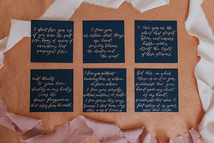 navy and copper wedding details - http://ruffledblog.com/artist-inspired-wedding-ideas-with-oxblood-and-navy
