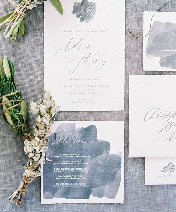 watercolor grey invites with white calligraphy for a neutral wedding