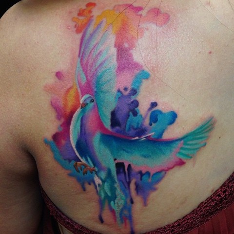 Watercolor tattoo on the back