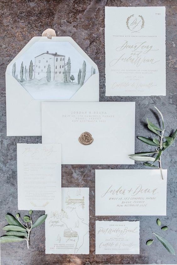 Tuscany wedding stationery suite with watercolor, champagne calligraphy and seal