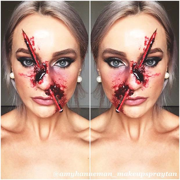 Pencil Through the Nose for Creative DIY Halloween Makeup Ideas