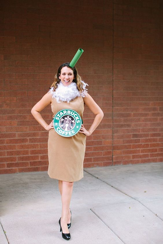a cool Starbucks coffee look made with a neutral dress and a cardboard belt