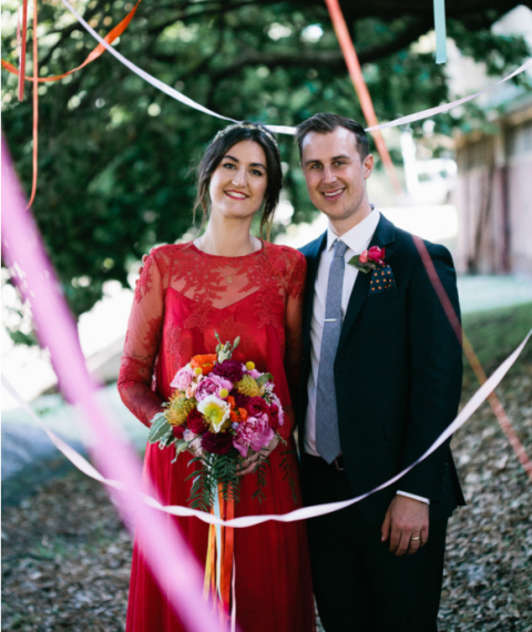 This colorful wedding was inspired by love to music and nature and bright colors