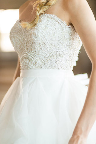 Strapless wedding dress with lace