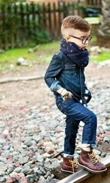 a double denim look with a navy polka dot scarf and brown leather boots