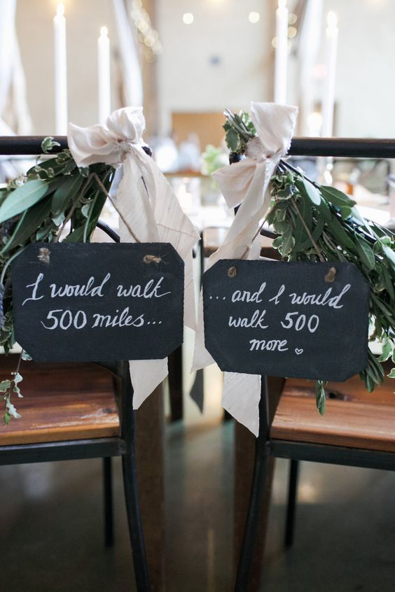 chalkboard wedding signs with fresh greenery and blush ribbons - write whatever you want on them