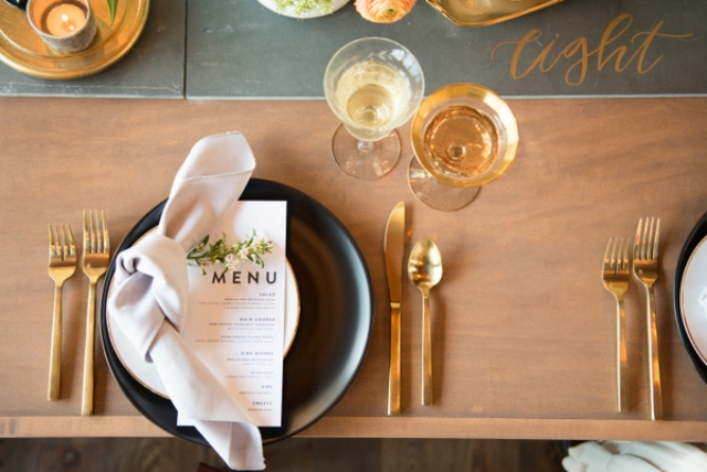 I love soft pastel napkins with fresh blooms, a menu and gold calligraphy on the table runner