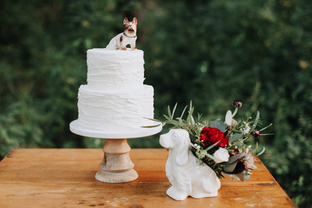 Dog wedding cake topper