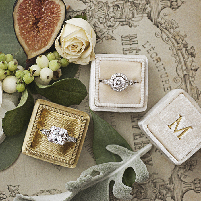 Vintage and modern engagement rings