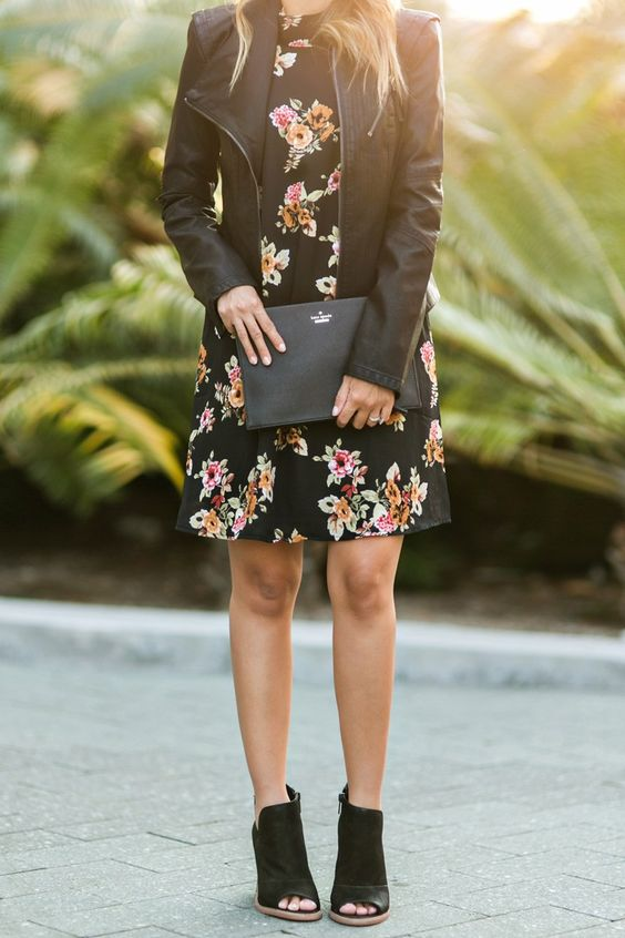 a black floral mini dress, a black leather jacket and peep toe black booties