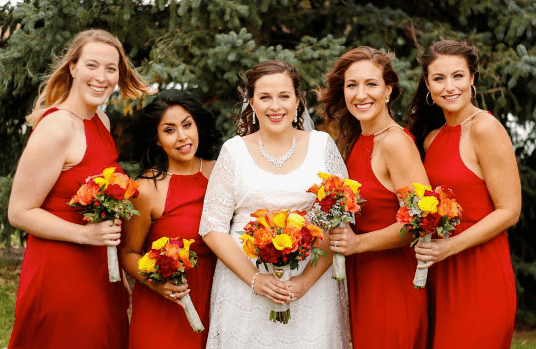 fall colours for bridesmaids