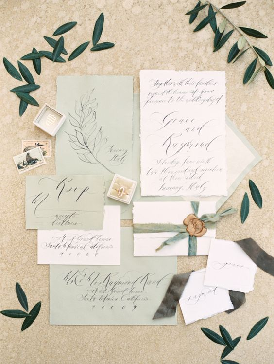soft green wedding stationery with calligraphy is great for a Tuscany wedding