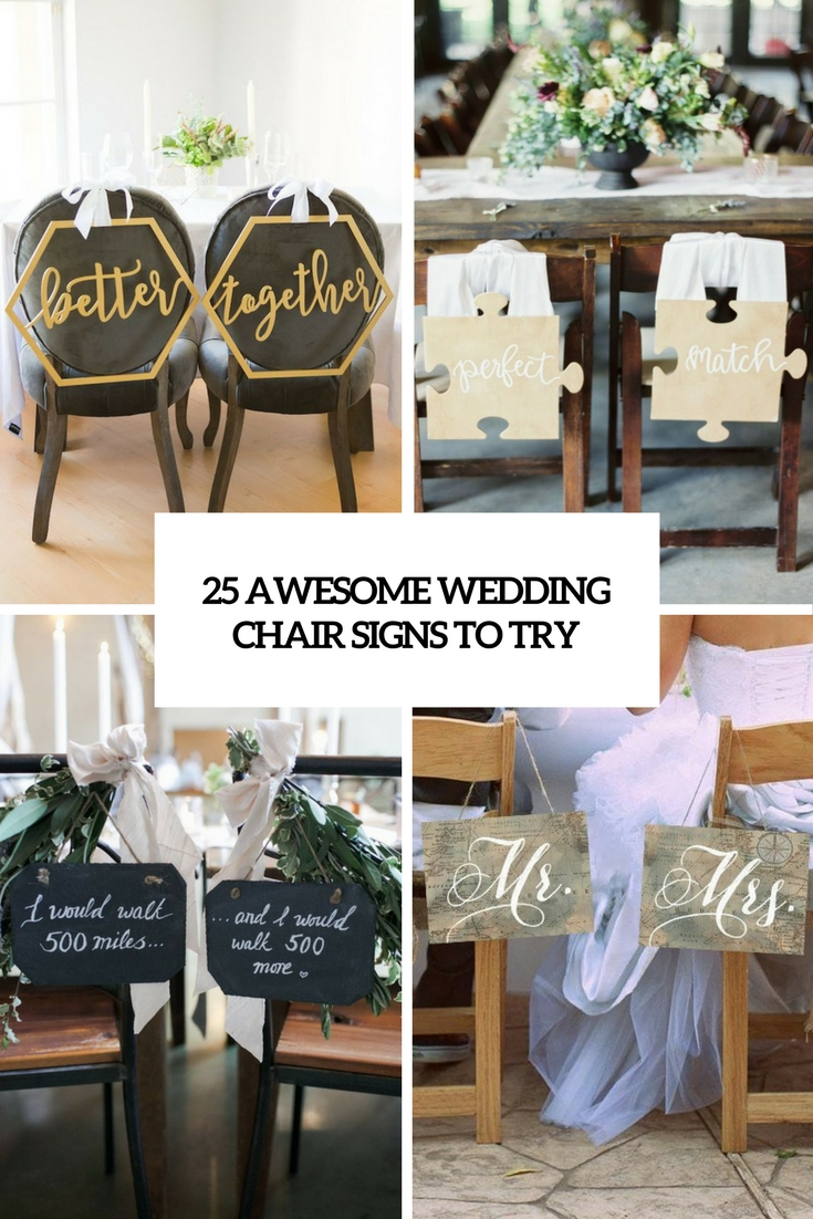 awesome wedding chair signs to try cover
