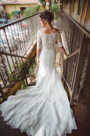 Lace and buttons wedding dress