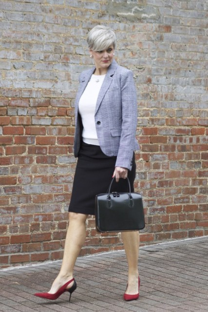With white shirt, pencil skirt, marsala pumps and leather bag