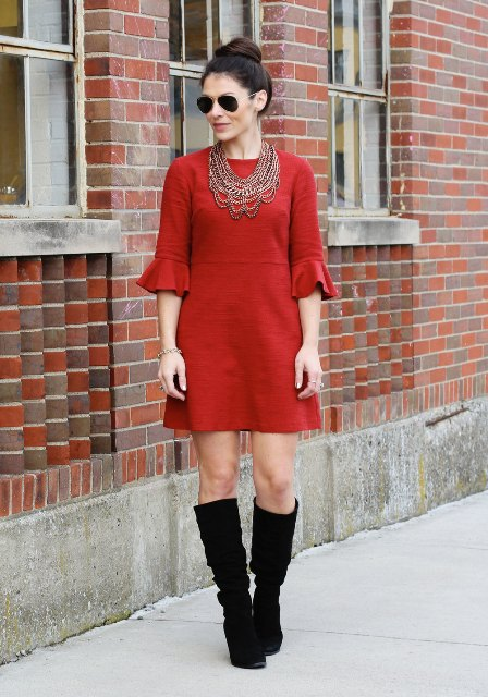 With red mini dress and necklace