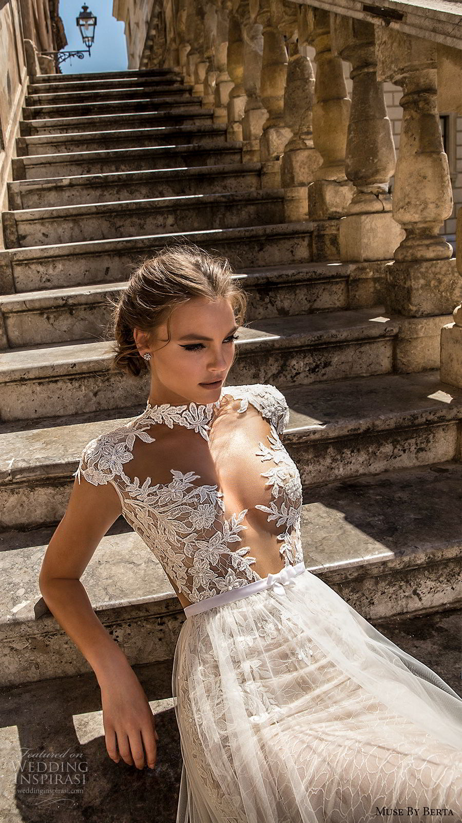 muse berta 2018 bridal cap sleeves high neck deep plunging sweetheart neckline heavily embellished bodice tulle skirt sexy romantic a line wedding dress keyhole back chapel train (9) zv