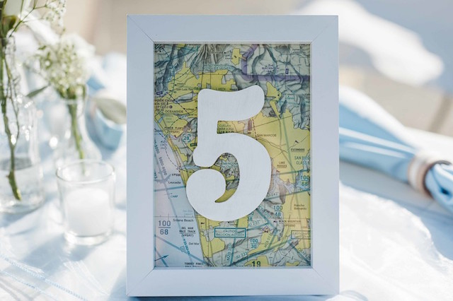 Travel themed table numbers