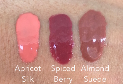 Revlon Kiss Plumping Lip Creme swatches : Apricot Silk, Spiced Berry and Almond Suede