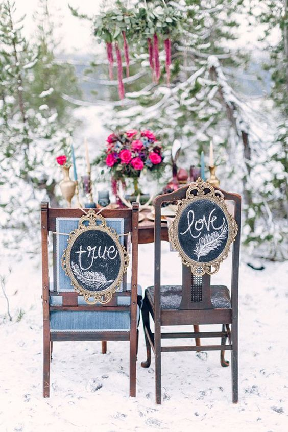 creative chalkboard wedding chair signs made with refined vintage frames are a unique idea