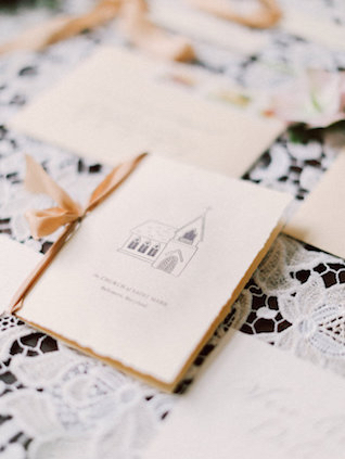 Chapel sketch on wedding invitations