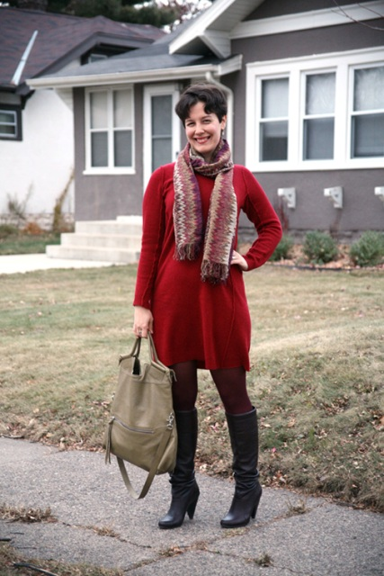 With red dress, printed scarf, marsala tights and beige bag