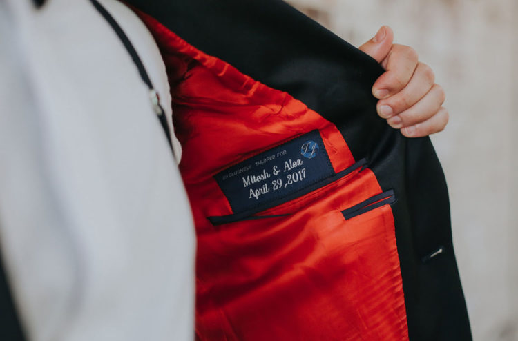 Look at this wedding date and names embroidered on the jacket - isn't that super cute