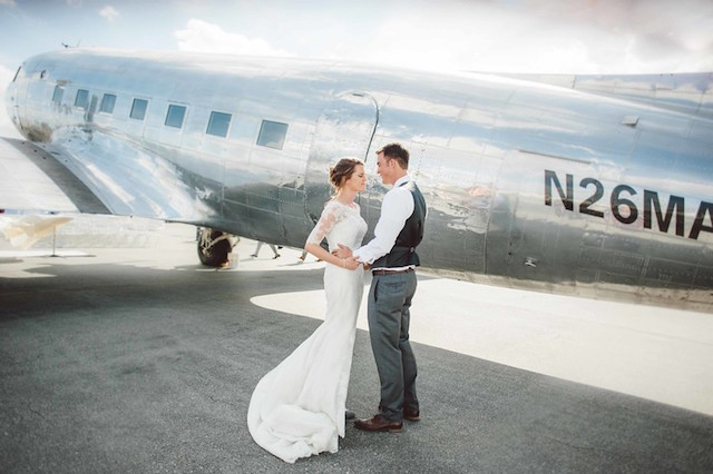 Vintage airport wedding