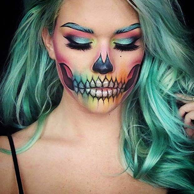 Rainbow Skeleton for Skeleton Makeup Ideas for Halloween
