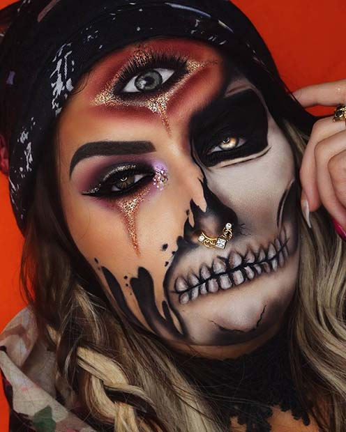 Gipsy Skeleton Halloween Makeup Idea