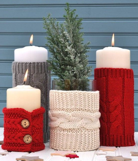 knit candle covers in neutrals, red and grey for gorgeous wedding table decor