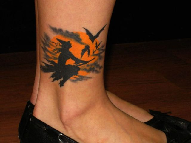 Witch, full moon and bats tattoo on the ankle
