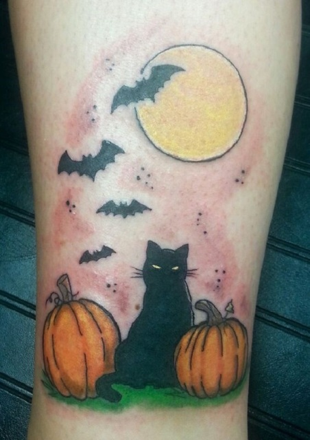 Two pumpkins, black cat, full moon and bats tattoo