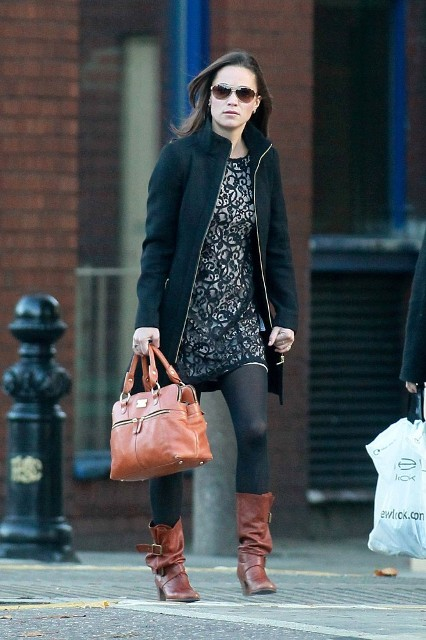 With mini dress, black coat and brown leather bag