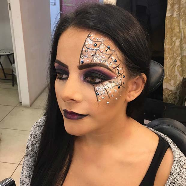 Glam Spider Web Makeup for Pretty Halloween Makeup Ideas