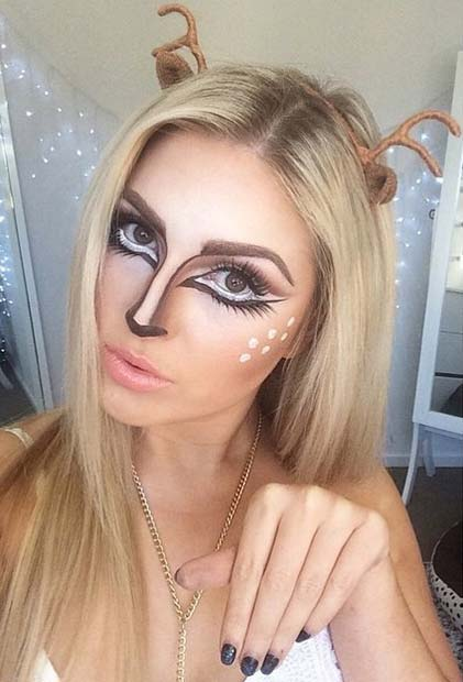 Cute Deer Makeup for Pretty Halloween Makeup Ideas