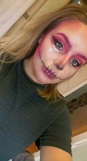Pink Skeleton for Pretty Halloween Makeup Ideas
