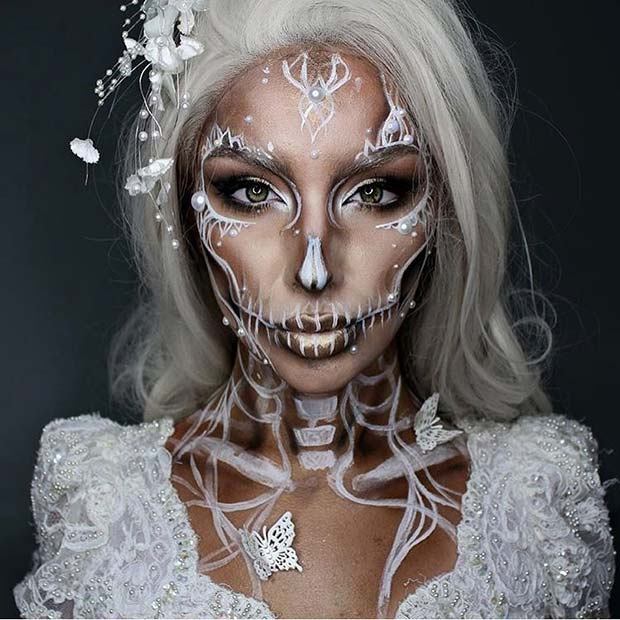 White and Pearl Skeleton Makeup for Pretty Halloween Makeup Ideas